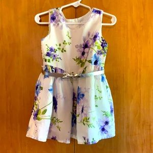 Children's Place 2T floral dress with belt white
